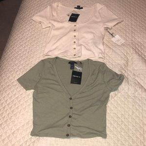 2 Forever 21 crop top shirts NEW W/ Tags